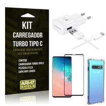 Kit Carregador Turbo C Samsung S10 + Película cobre a Tela Toda + Capa Antishock - Armyshield -