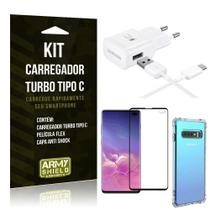 Kit Carregador Turbo C Samsung S10 Plus + Película cobre a Tela Toda + Capa Antishock - Armyshield -