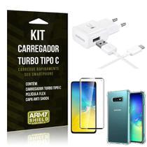 Kit Carregador Turbo C Samsung S10e + Película cobre a Tela Toda + Capa Antishock - Armyshield -