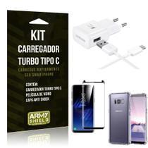 Kit Carregador Turbo C Samsung S8 + Película cobre a Tela Toda + Capa Antishock - Armyshield -