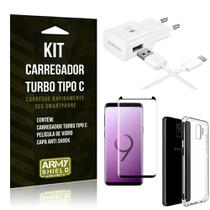 Kit Carregador Turbo C Samsung S9 + Película cobre a Tela Toda + Capa Antishock - Armyshield -