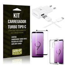 Kit Carregador Turbo C Samsung S9 Plus + Película cobre a Tela Toda + Capa Antishock - Armyshield -