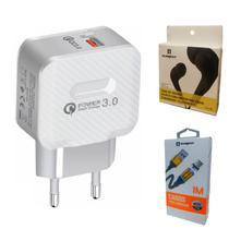 Kit Carregador Turbo + Cabo Magnético + Fone de Ouvido Original P/ Lg, Motorola, Samsung Asus - Sumexr
