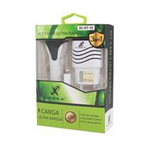 Kit Carregador Ultra Rápido 3 em 1, Flex, 2 entradas USB, 2.1A, XC-KT-C, X-CELL -