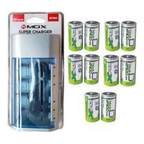 Kit Carregador Universal + 10 Pilhas Tipo D Grande Flex - Mox e flex