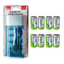 Kit Carregador Universal + 8 Pilhas Tipo D Grande Flex - Mox e flex