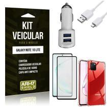 Kit Carregador Veicular Tipo C Galaxy Note 10 Lite + Capa Anti Impacto + Película 3D - Armyshield -