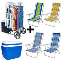 Kit Carrinho de Praia + 4 Cadeiras 4 Posicoes em Aluminio + Caixa Termica 34 Litros  Mor -