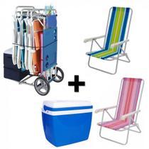 Kit Carrinho de Praia com Avanco + 2 Cadeiras 4 Posicoes em Aluminio + Caixa Termica 34 Litros  Mor -