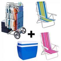 Kit Carrinho de Praia com Avanco + 2 Cadeiras 8 Posicoes Aluminio + Caixa Termica 34 Litros Azul  Mor -