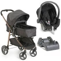 Kit Carrinho Galzerano Olympus Preto + Bebê Conforto + Base Para Carro -