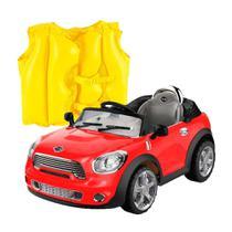 Kit Carro Conversivel Eletrico 6V  Belfix + Colete Boia Inflável Infantil- Mor -