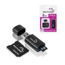 Kit Cartão Micro SD 8GB + Adaptador USB e SD Multilaser
