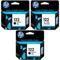 Kit Cartucho HP 122 Preto (2 Un.) + Cartucho HP 122 Colorido (1 Un.) Original -