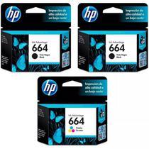 Kit Cartucho HP 664 Preto (2 Un.) + Cartucho HP 664 Colorido (1 Un.) Original -