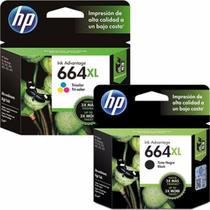 Kit Cartucho HP 664XL preto + HP 664XL colorido Original NF