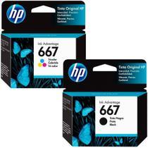 Kit Cartuchos de Tinta HP Ink Advantage 667 - Preto + Colorido -
