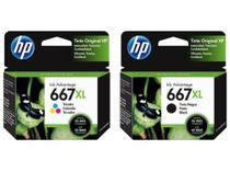 Kit Cartuchos de Tinta Originais HP 667XL Preto + Colorido HP 667 XL -