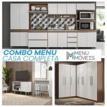 Kit Casa Completa Mobiliada Cozinha 6 Pcs + Guarda Roupa Canto + Rack Tv + Mesinha + Ilha Bancada - MenuMóveis