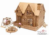 Kit casa de bonecas com 29 moveis para mini bonecas compatível com lol e polly bia natural - darama -