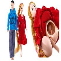 Kit casal de bonecos boneca gravida barriga ganha bebe familia feliz mamae papai e bebe - Gimp