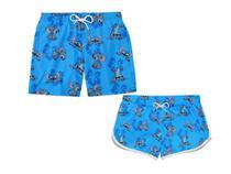 Kit Casal Moda Praia Shorts Stitch Flor - Tshoes