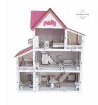 Kit Casinha Casa De Boneca Com 3 Varandas + 30 Moveis Em Mdf Pintado Branco - Casa Da Polly Branco