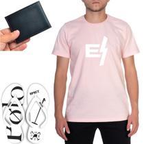 Kit Casual Chinelo Polo Branco Estampado + Camiseta Estampa Rosa E-Raio+ Carteira Cartões Masculino - Efect