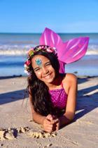 Kit cauda de sereia tam 12 - cor rosa - Viamar Brasil