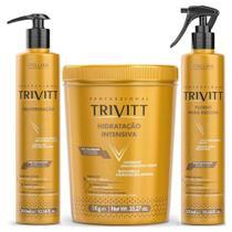 Kit Cauterização 300ml, Hidratação Intensiva 1Kg, Fluido para Escova 300ml - Trivitt