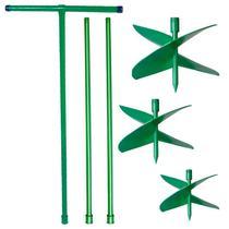Kit Cavadeira Trado Perfurador de Solo Manual 15, 20 e 25 CM c/ Cabo T e 2 Extensões CADIOLI -