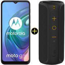 Kit Celular Motorola Moto G10 Cinza Aurora 64GB + Caixa De Som Portátil Sem Fio Bluetooth Y-Move 12W -
