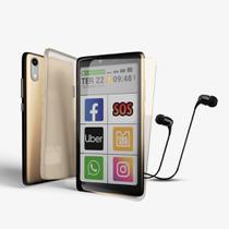 Kit Celular Obabox - ObaSmart3 Dourado 32GB + Fone + Película + Capinha -