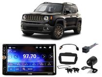Kit Central Multimídia H-Tech HMP-5010 C/ Câmera de ré + Chicotes e Moldura Jeep Renegade PCD 18/19 - Positron
