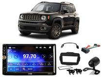 Kit Central Multimídia H-Tech HMP-5010 C/ Câmera de ré + Chicotes e Moldura Jeep Renegade PCD até 17
