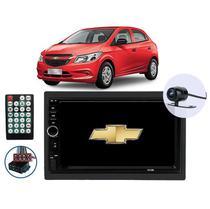 """Kit Central Multimídia para Chevrolet Onix 2013 a 2019 com tela de 7"""" Polegadas USB Bluetooth Espelhamento de tela Android e IOS - First Option"""