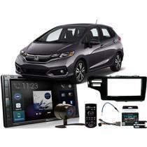 Kit Central Multimídia Pioneer Honda Fit 2015 a 2020 AVH-Z5280TV Pioneer 6.8 USB DVD Espelhamento -
