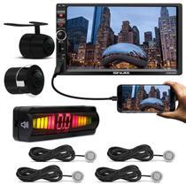 """Kit Central Multimídia Shutt Chicago 7"""" Bluetooth Touch Android IOS + Câmera de Ré + Sensor Prata -"""