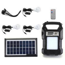 Kit central placa solar 3 lâmpada rádio fm com bateria lanterna - Ideal -