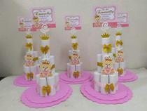 kit centro de mesa mini bolo de fraldas  de eva Ursinha Princesa - Mimos