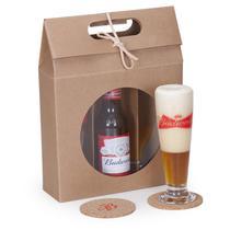 Kit Cerveja Budweiser 343ml + 2 tulipas e 2 porta copos - Shop quality