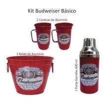 Kit Cerveja - Budweiser Balde De Gelo Canecas E Porta Garrafas - Vermelho - Fagundes