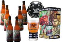 Kit Cerveja Roleta Russa IPA, Imperial IPA,  Easy IPA Long-neck 355ml e Copo Bracelete 300 ml -