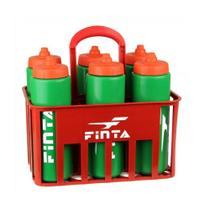 Kit Cesta 6 Squeeze + Suporte - 1 Litro - Futebol / Artes Marciais / Vôlei - Finta - Pentagol