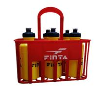 Kit Cesta C/6 Squeeze Plástica Finta 500ml Amarelo + Suporte Finta Vermelho -