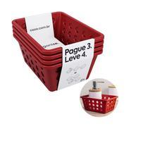 Kit cesta one pague 3 leve 4 pequeno vermelho bold 99245 coza -