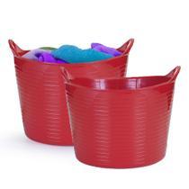 Kit Cesto Multiuso Flexível Vermelho Balde Roupa 20 e 15 lts - Arthi