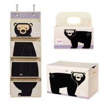 Kit cesto retangular + fraldas + parede-urso negro-3 sprouts -