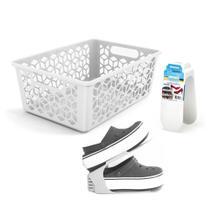 Kit Cesto Vazado e Organizadores de Sapatos Sapateira Branca - Arthi