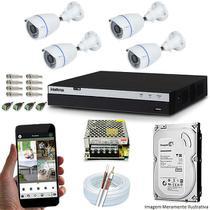 Kit Cftv 04 Câmeras Inova MULTHD 3225B Bullet 1080p Dvr 08 Canais Intelbras MHDX 3108 + HD 1TB -